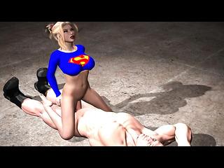 rubias ponytailed supergirl montar